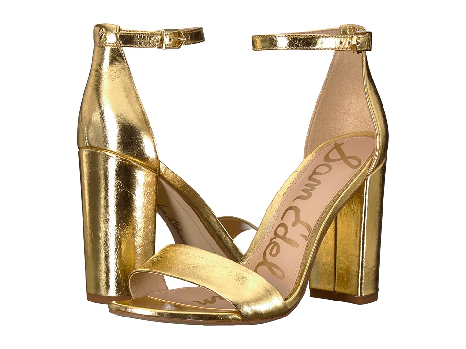 Sam Edelman Yaro Ankle Strap Sandal Heel (Bright Gold Distressed Metallic Leather) Women's Dress Sandals