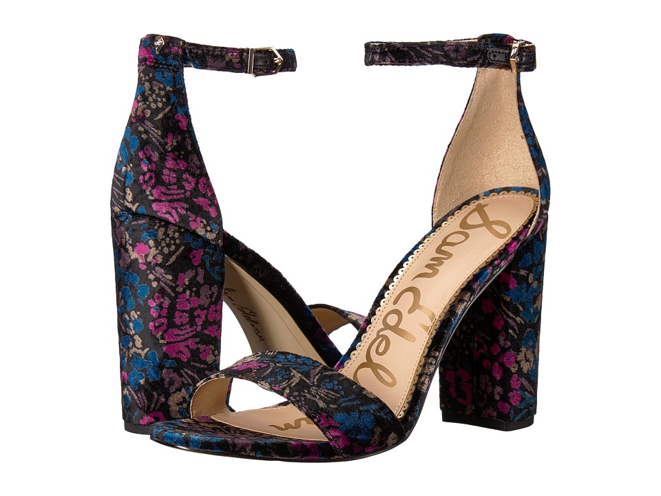 Sam Edelman Yaro Ankle Strap Sandal Heel (Black Multi Basilica Floral Velvet) Women's Dress Sandals