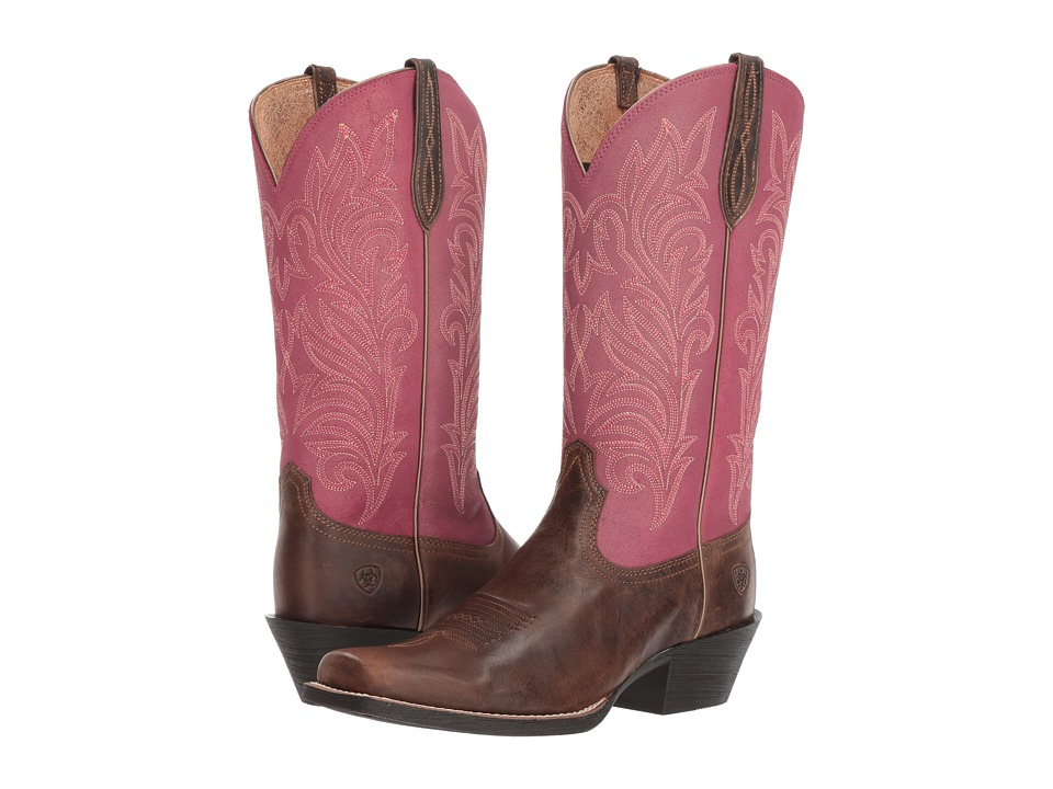 Ariat Round Up Stockyards (Barnwood/Raspberry) Women's Cowboy Boots
