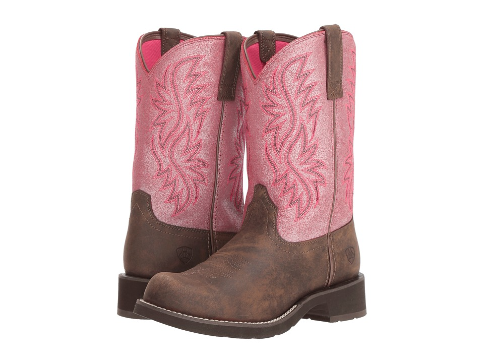 Ariat Fatbaby Heritage Tall (Toasted Brown/Bright Pink Crackle) Cowboy Boots