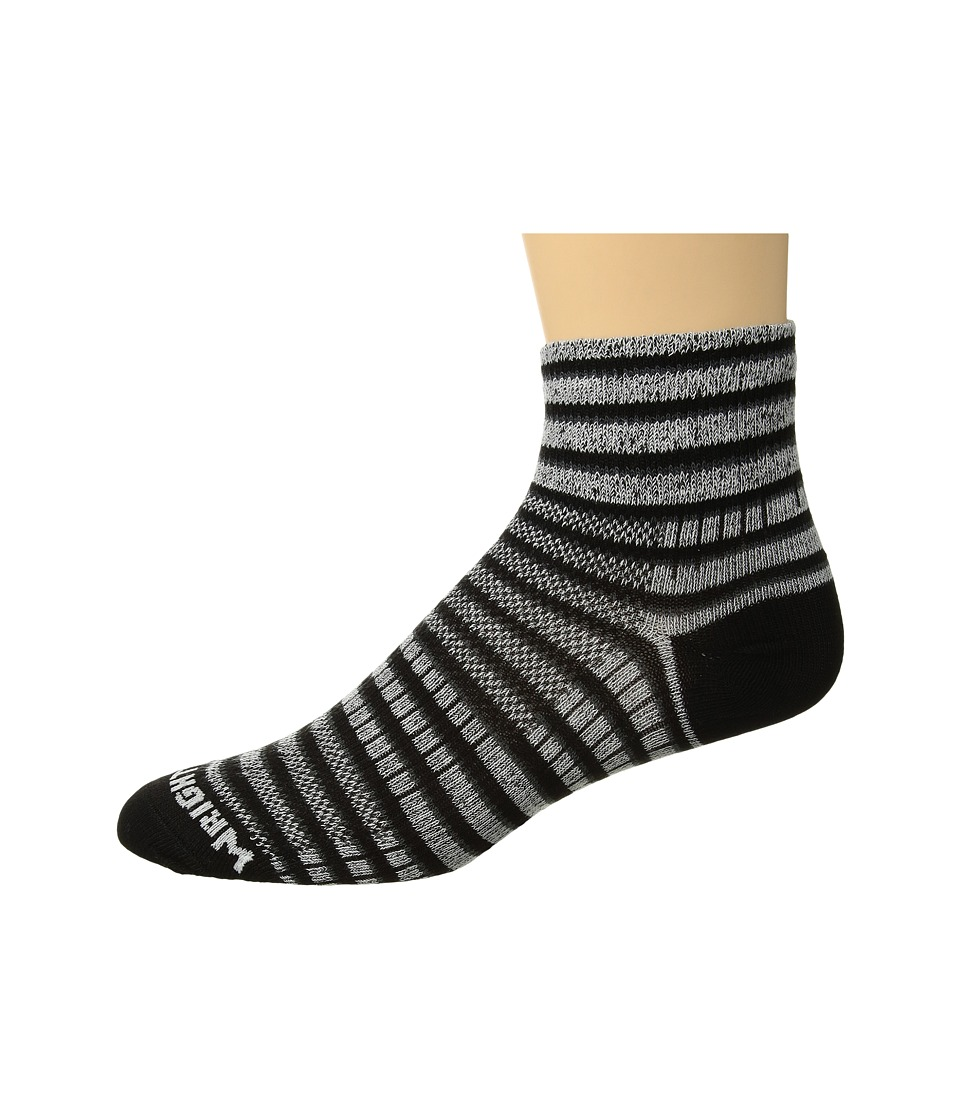 Wrightsock - Coolmesh II Quarter Stripes (Black/White/Grey) Quarter Length Socks Shoes
