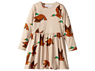mini rodini Ducks All Over Print Long Sleeve Dress (Infant/Toddler/Little Kids/Big Kids)
