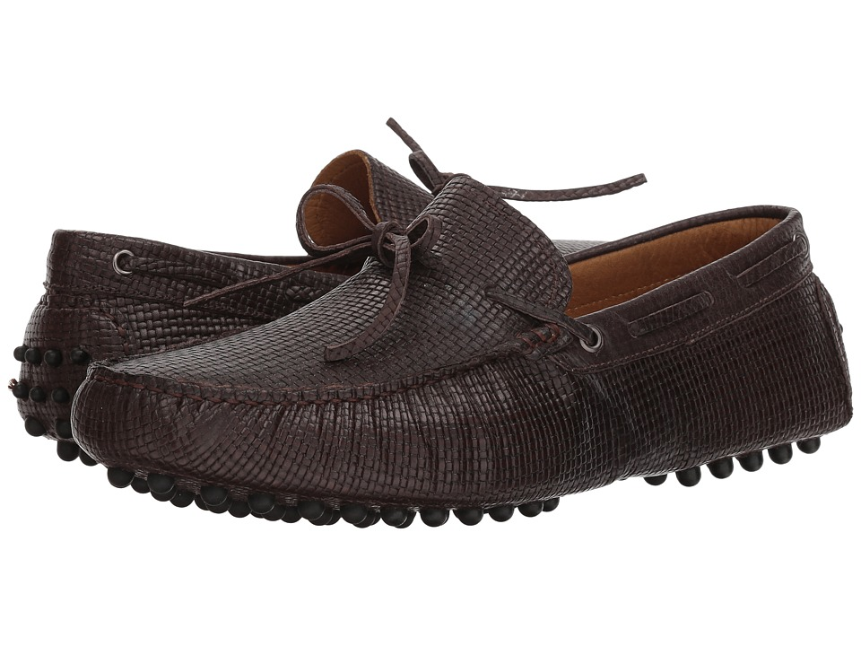 Massimo Matteo Woven Stamped Leather Lace Driver (Cafe) Men