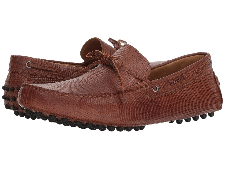 Massimo Matteo Woven Stamped Leather Lace Driver (Havana) Men