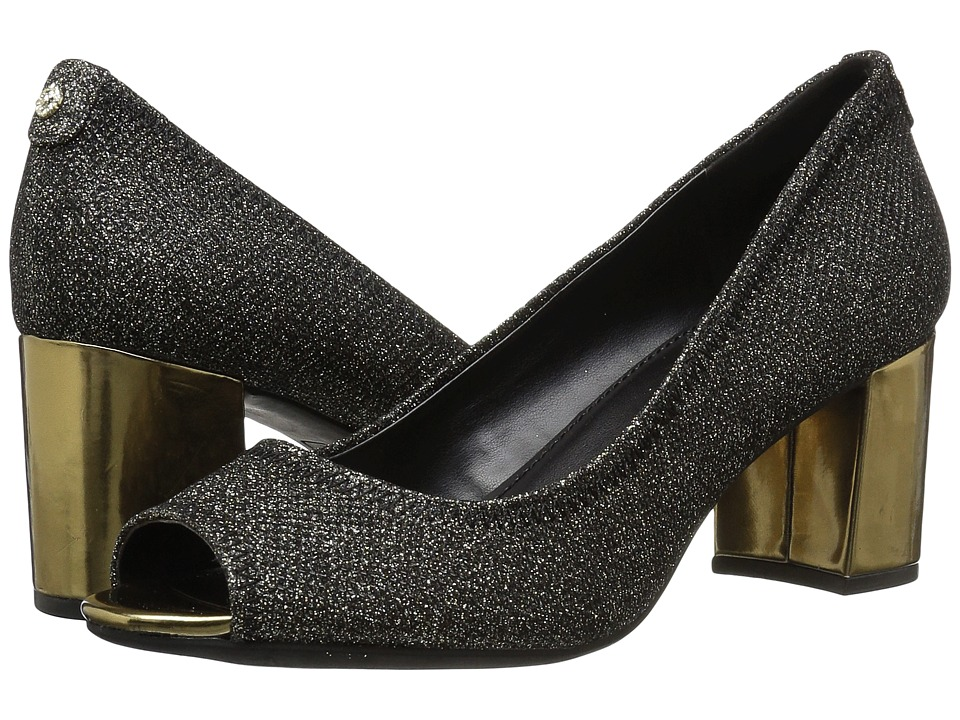Anne Klein Meredith (Black/Gold Fabric) Women's Shoes