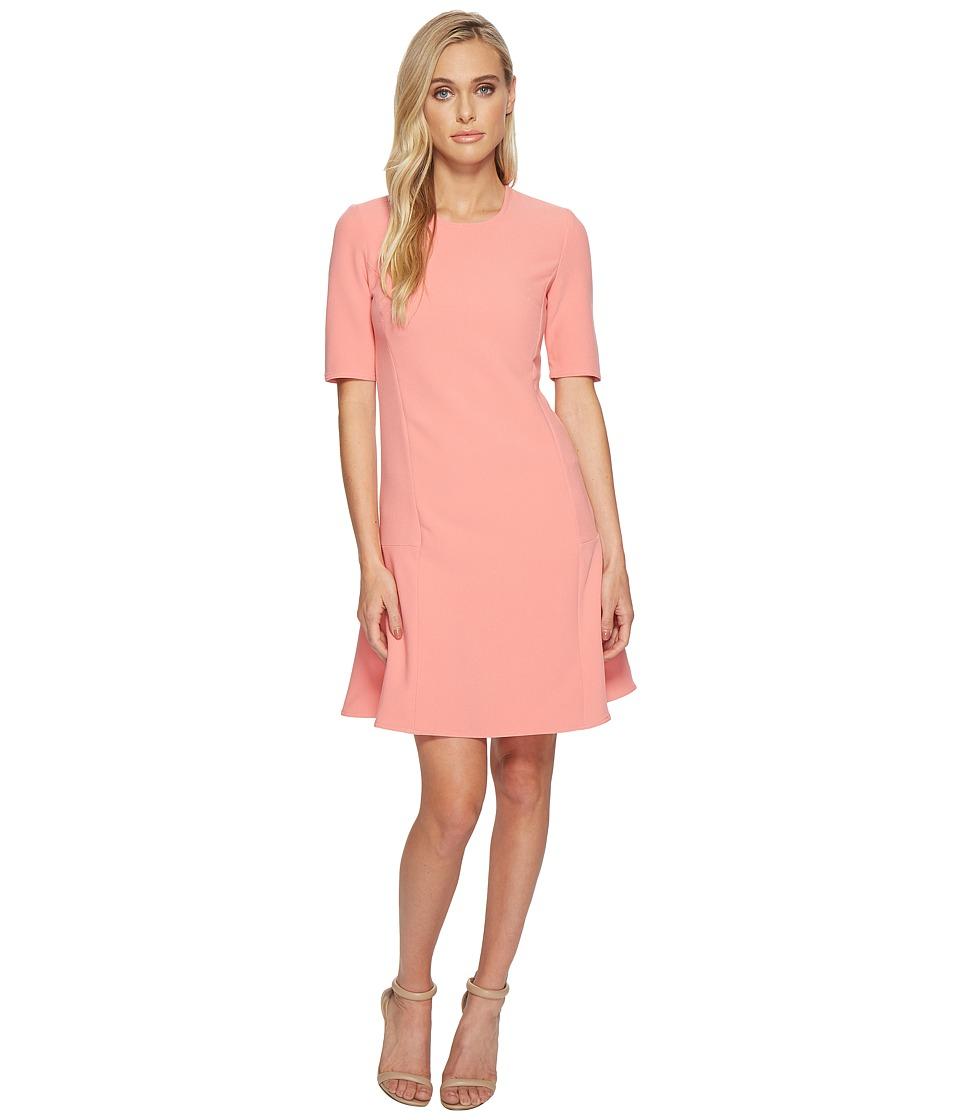 Ellen Tracy - Seamed Flounce Dress (Sorbet) Womens Dress