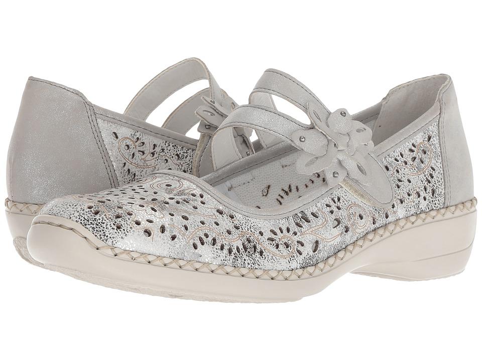 Rieker - 41372 Doris 72 (Weiss/Silber) Womens  Shoes