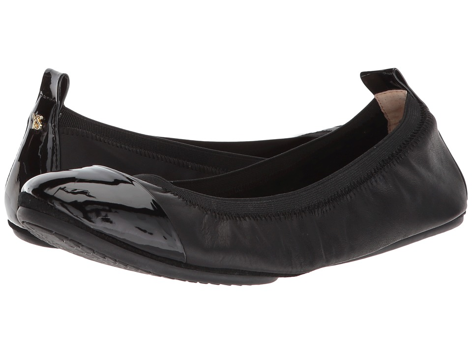Yosi Samra Samantha Cap Toe (Black Nappa/Black Patent Toe) Flats
