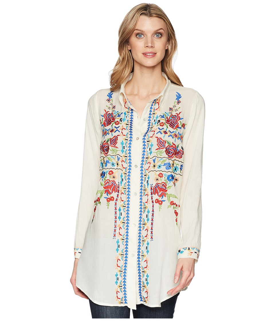 Scully - Bailee Sexy Fabric Embroidered Blouse (Mushroom) Womens Clothing