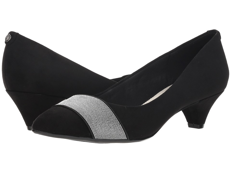 Anne Klein Xaria (Black/Black/Silver Velvet Fabric) Women's Shoes