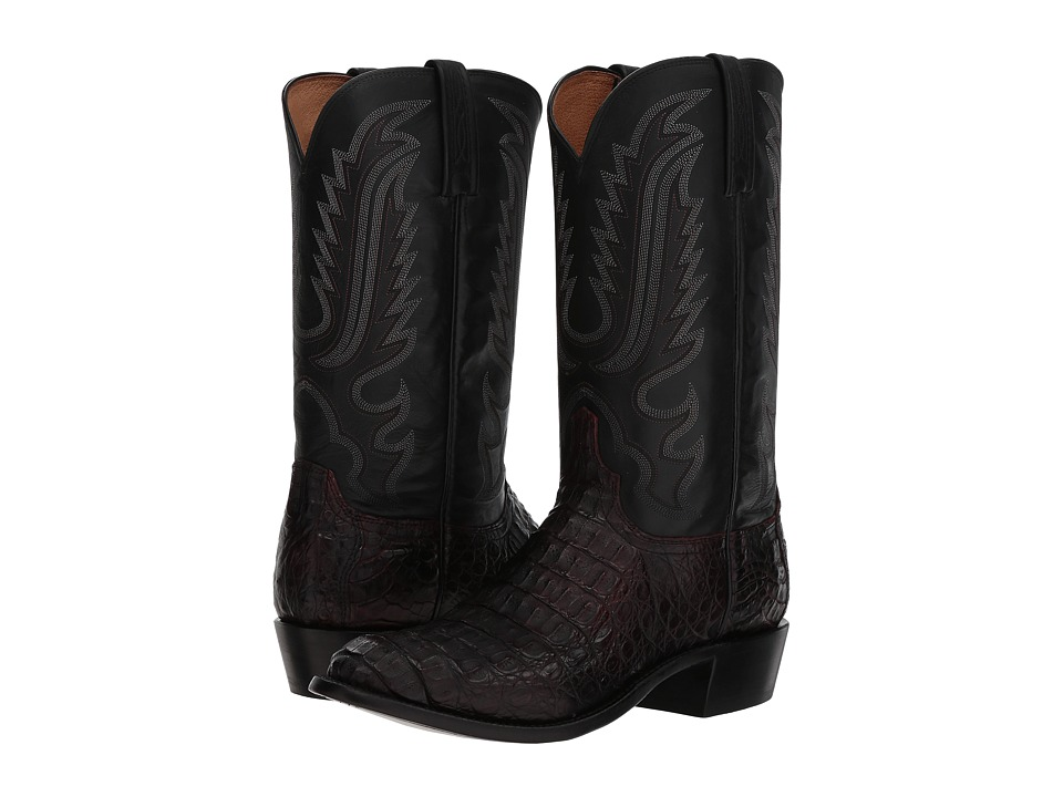 Lucchese - Walter (Black Cherry Hornaback Caiman) Cowboy Boots