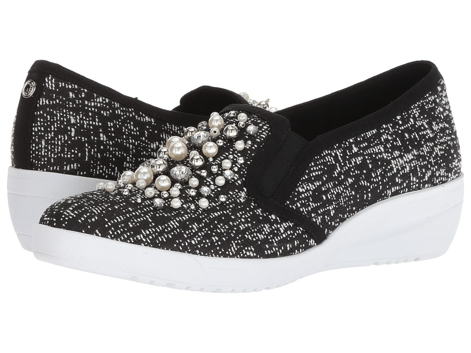 Anne Klein Yevella (Black/White Multi/Light Fabric) Women's Shoes