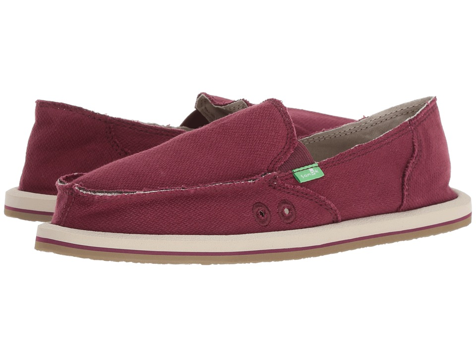 Sanuk Donna Hemp (Burgundy) Slip-On Shoes