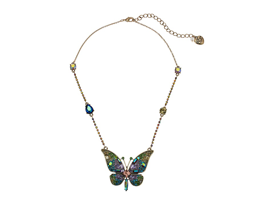 Betsey Johnson Butterfly Pendant Necklace (Multi) Necklace