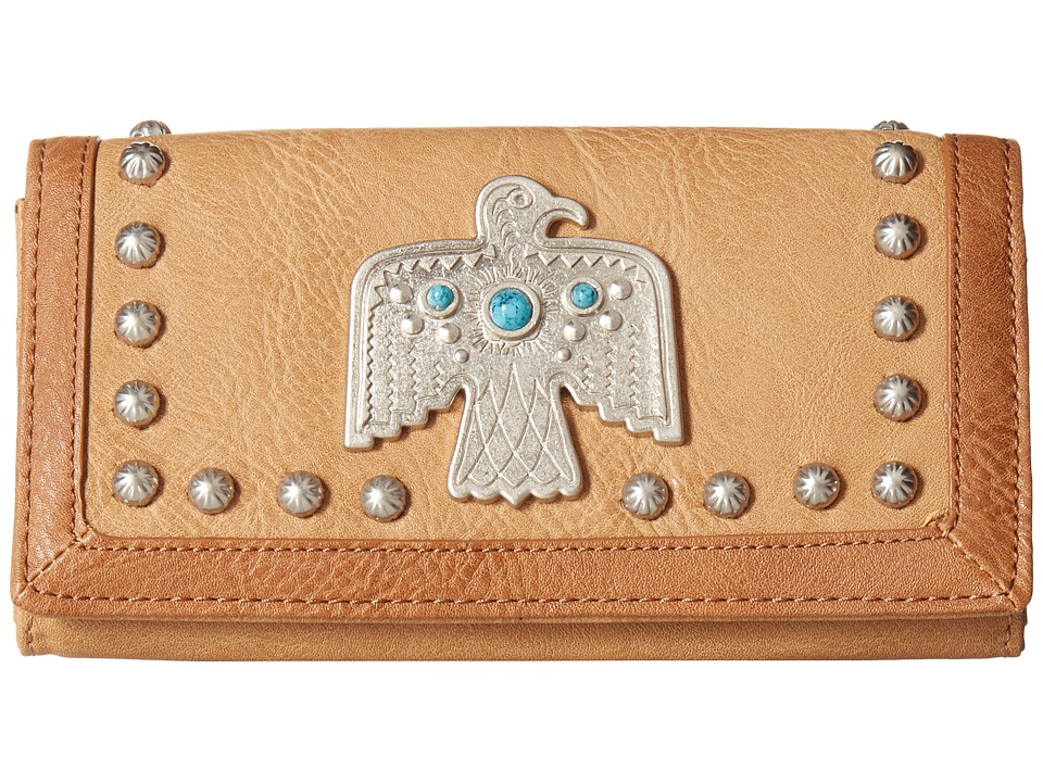 American West - Guns And Roses Flap Wallet (Tan) Wallet Handbags