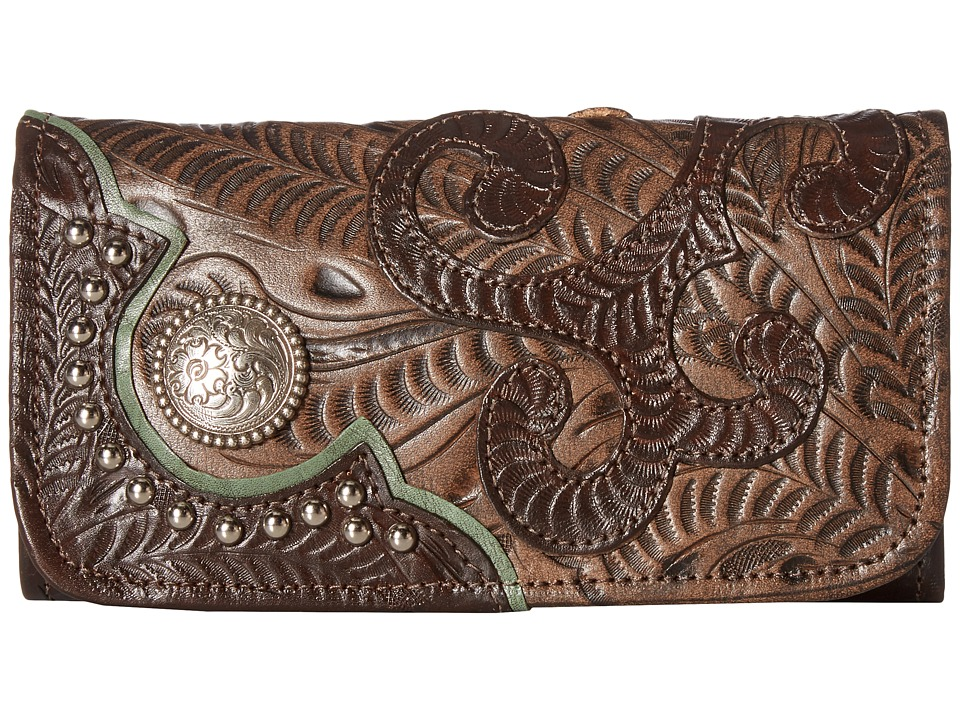 Image of American West - Annie's Secret Collection Trifold Wallet (Chocolate/Distressed Charcoal Brown/Turquoise) Wallet Handbags
