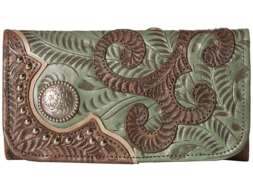 Image of American West - Annie's Secret Collection Trifold Wallet (Distressed Charcoal Brown/Turquoise/Sand) Wallet Handbags