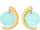 Robert Lee Morris Gold and Blue Mother-of-Pearl Drop Earrings