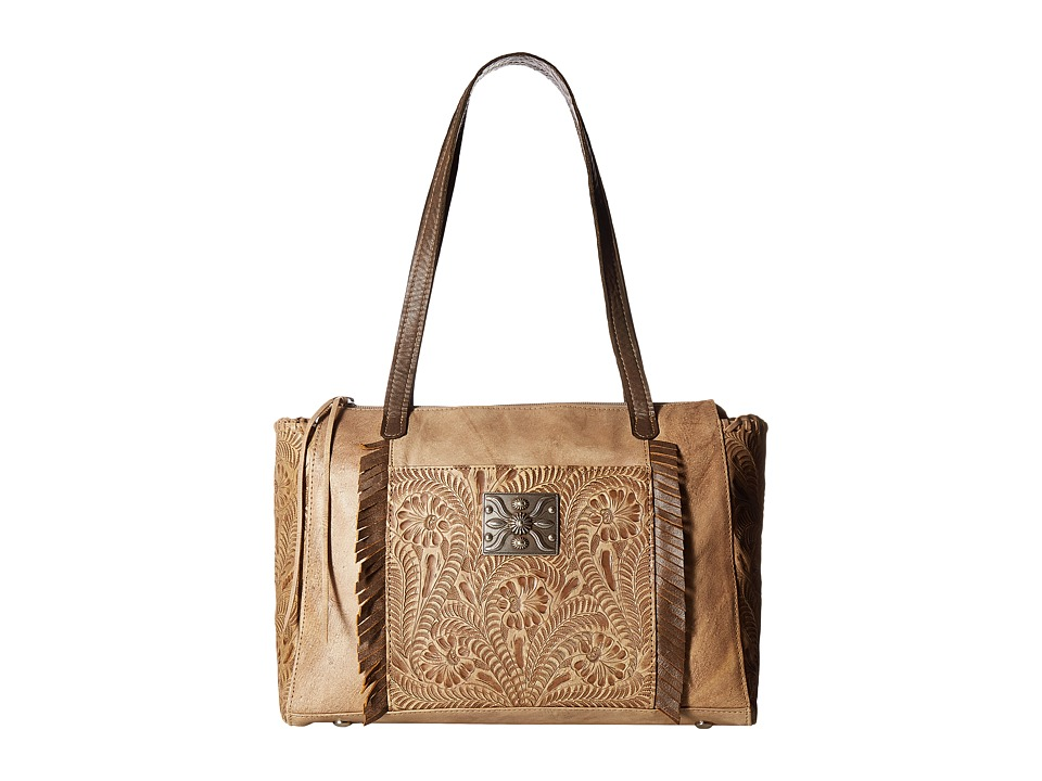 Image of American West - Annie's Secret Zip Top Tote w/ Secret Compartment (Distressed Cream/Distressed Charcoal Brown) Tote Handbags