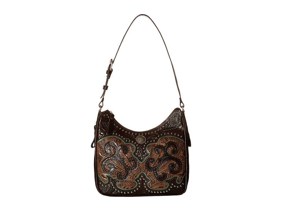 Image of American West - Annie's Secret Collection Shoulder bag w/ Secret Compartment (Chocolate/Distressed Charcoal Brown/Turquoise) Shoulder Handbags