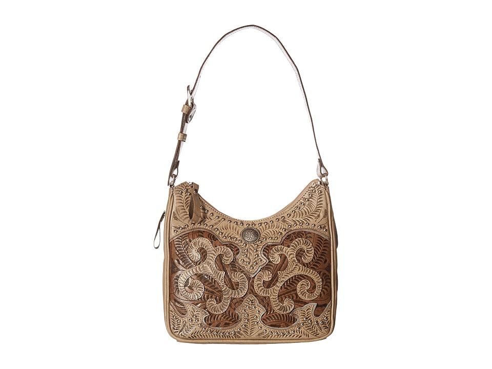 Image of American West - Annie's Secret Collection Shoulder bag w/ Secret Compartment (Sand/Distressed Charcoal Brown/Light Blue) Shoulder Handbags