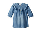 Chloe Kids Light Denim Dress, Constrasting Stitching On The Neckline (Infant/Toddler)