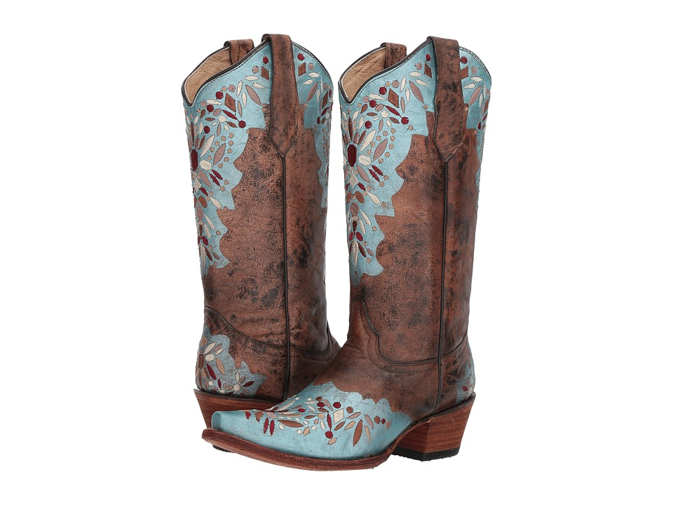 Corral Boots - L5369 (Shedron/Light Blue) Womens Boots
