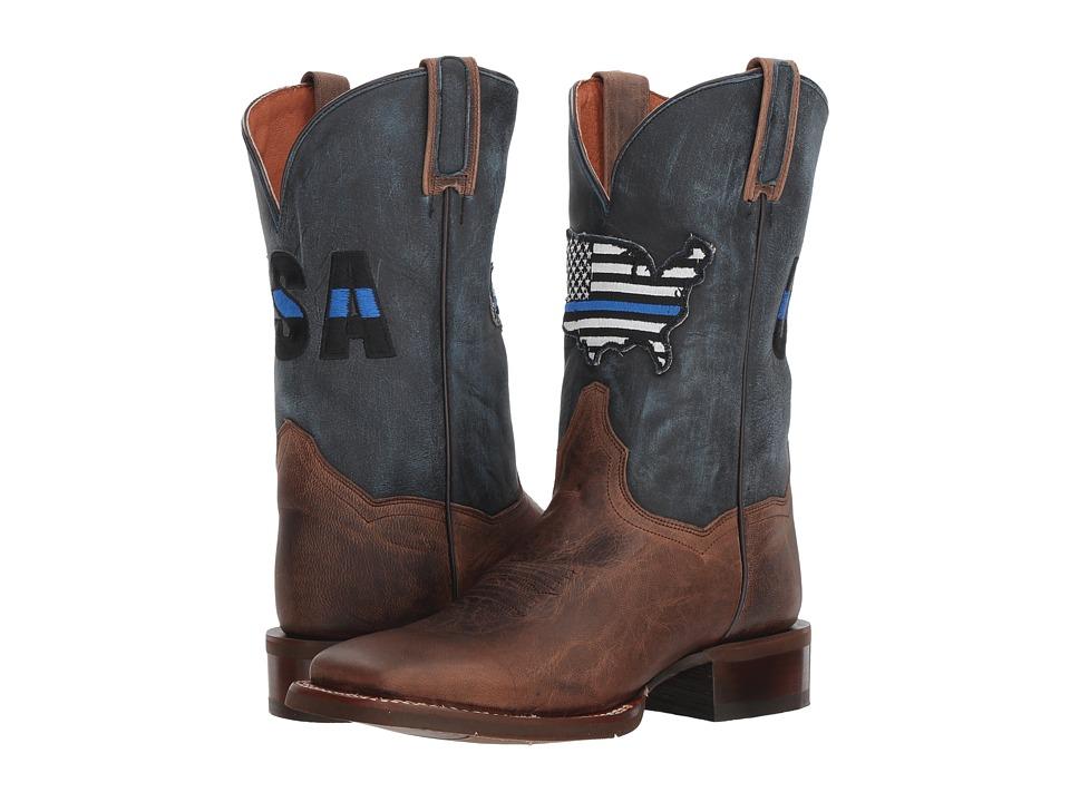 Dan Post Thin Blue Line (Sand/Blue Leather) Women's Cowboy Boots