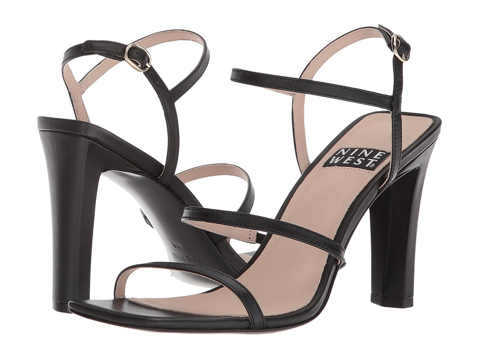 Nine West Gabelle 40th Anniversary Strappy Heeled Sandal (Black Leather) Women