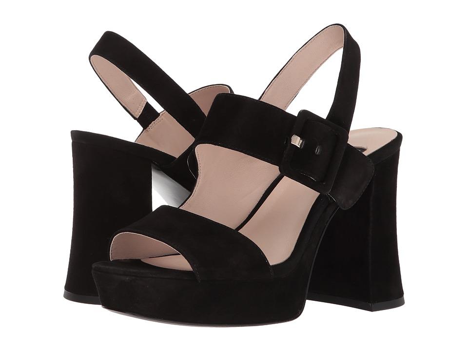 Nine West - Lexine 40th Anniversary Platform Heeled Sandal (Black Suede) Womens Sandals