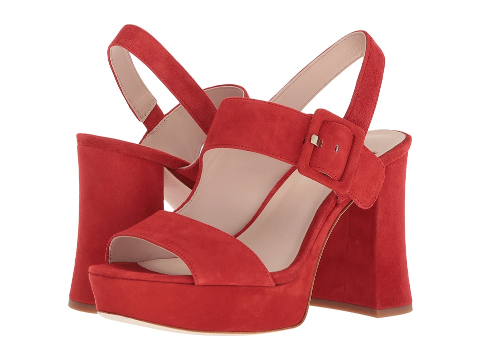 Vintage Style Shoes, Vintage Inspired Shoes Nine West - Lexine 40th Anniversary Red Suede Womens Sandals $129.00 AT vintagedancer.com
