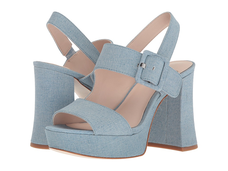 Vintage Style Shoes, Vintage Inspired Shoes Nine West - Lexine 40th Anniversary Light Blue Leather Womens Sandals $129.00 AT vintagedancer.com