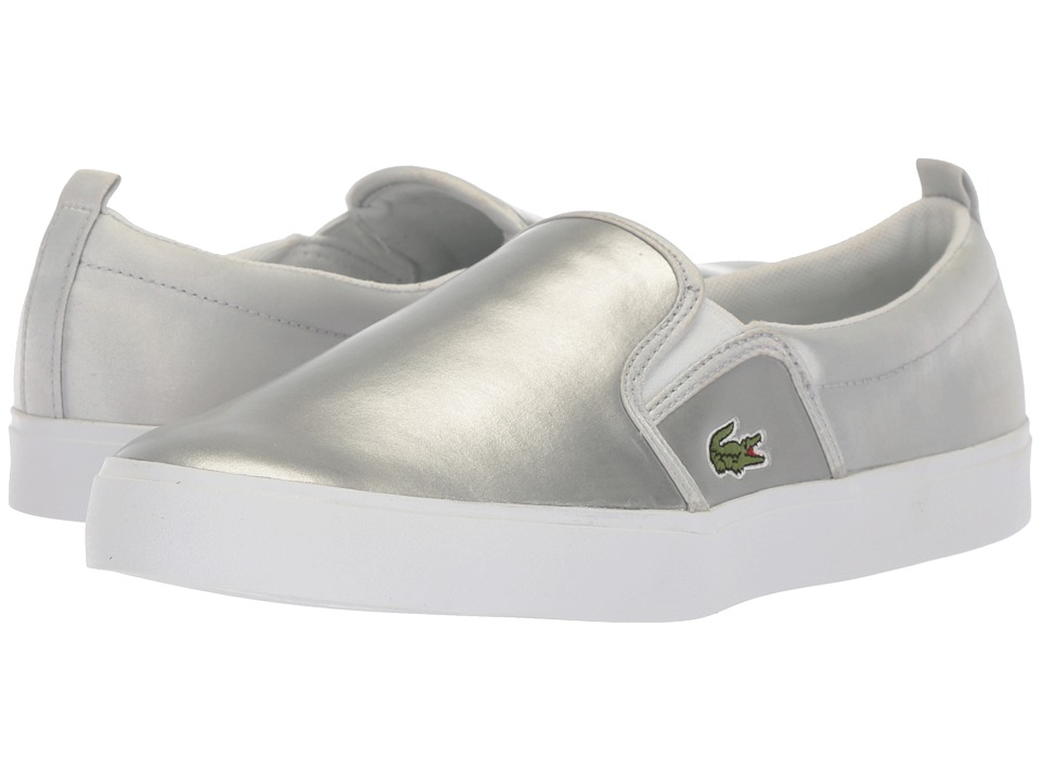 Lacoste Kids - Gazon (Big Kid) (Silver/White) Girls Shoes