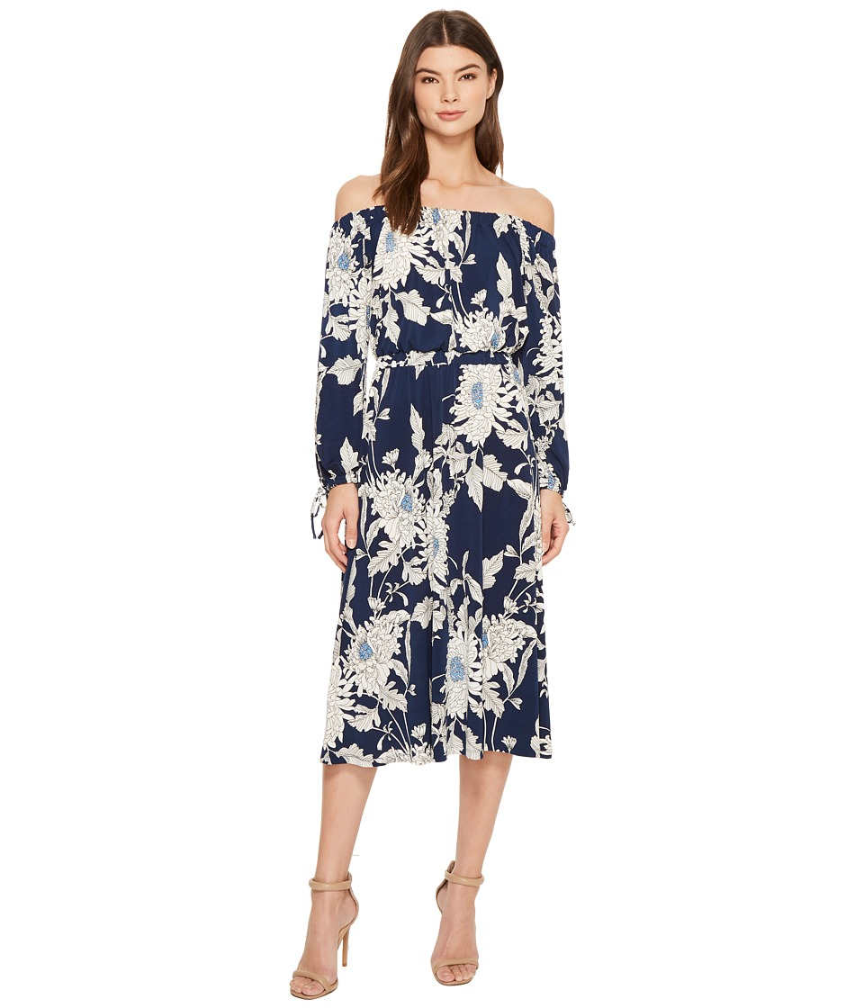 Maggy London - Off the Shoulder Peasant Sleeve Dress (Navy/Soft White) Womens Dress