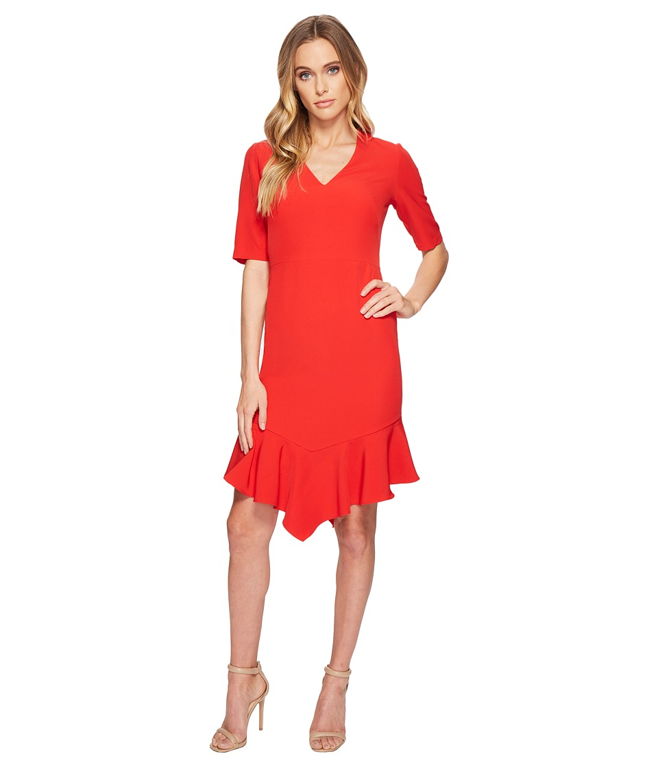 Maggy London - Elbow Sleeve Ruffle Flounce Dress (Rose) Womens Dress