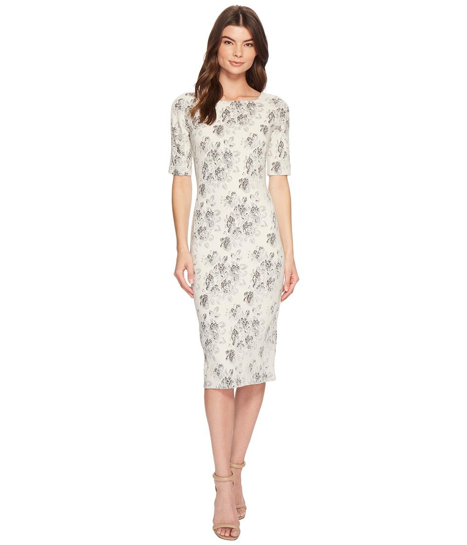 Maggy London - Tapestry Jacquard Sheath Dress (Cream/Black) Womens Dress