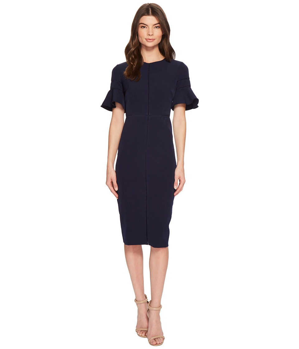 Maggy London - Sheath Dress with Trim Detail (Navy) Womens Dress