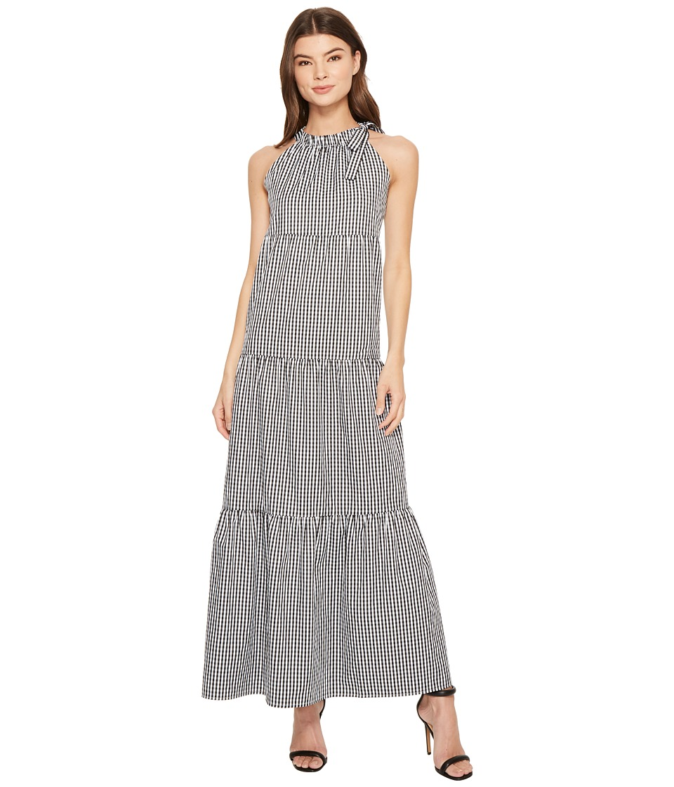 Maggy London - Tied Maxi Halter Dress (Black/White) Womens Dress