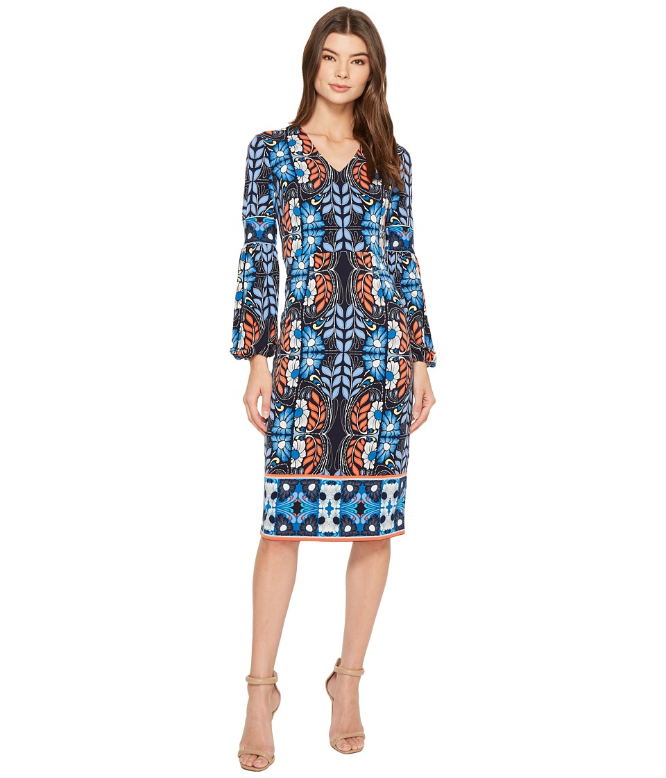 Maggy London - Folk Print Jersey Midi Sheath Dress (Navy Blue) Womens Dress