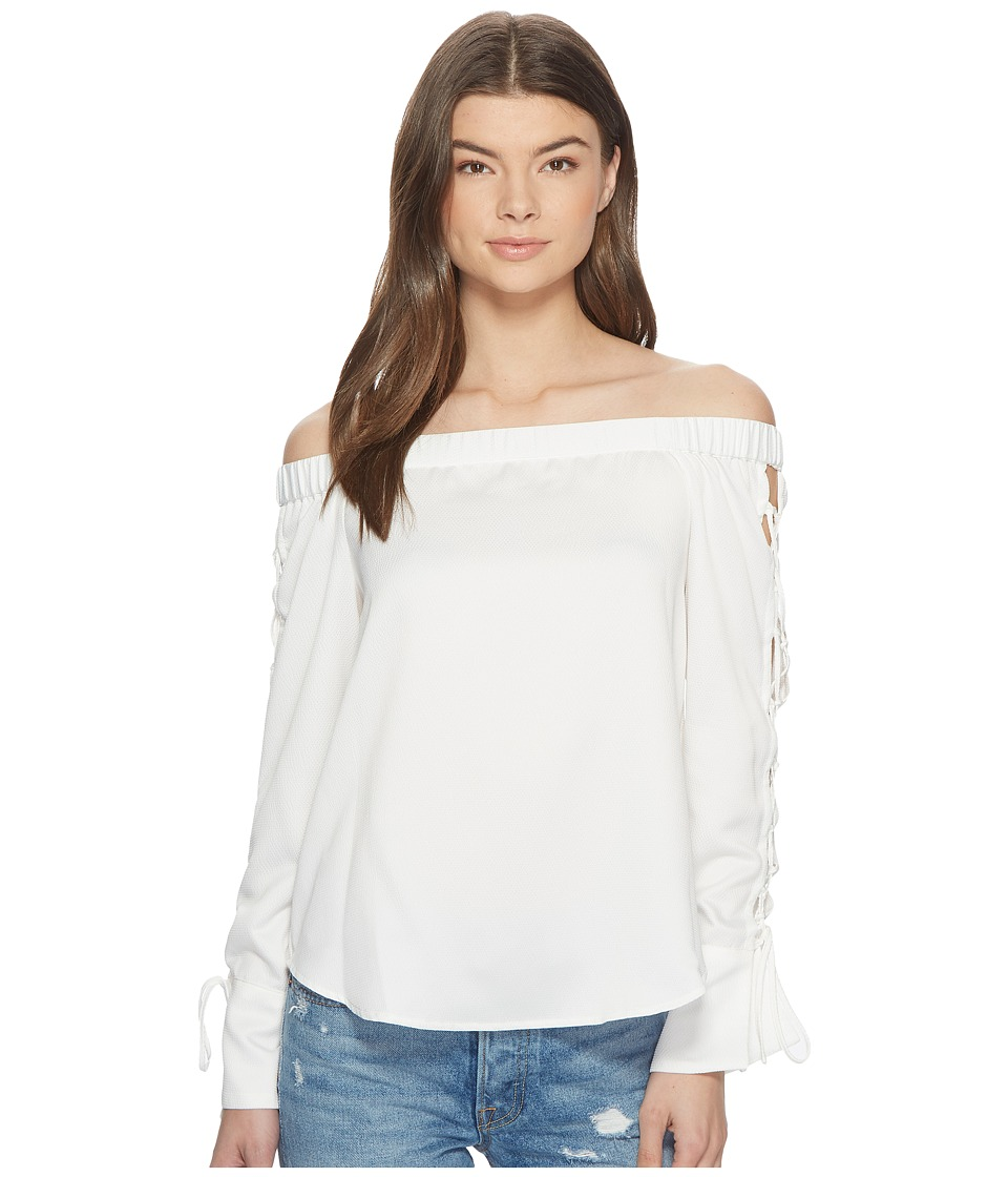 1.STATE - Off Shoulder Blouse w/ Lace-Up Sleeves (New Ivory) Womens Blouse