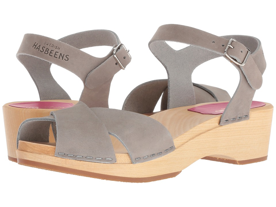 Swedish Hasbeens Mirja Debutant (Grey Nubuck) Sandals