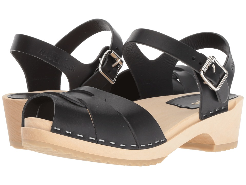 Swedish Hasbeens Peep Toe Low (Black) Sandals