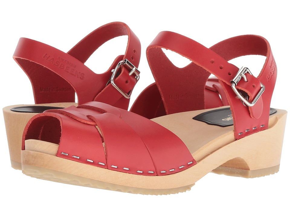 Swedish Hasbeens Peep Toe Low (Red) Sandals