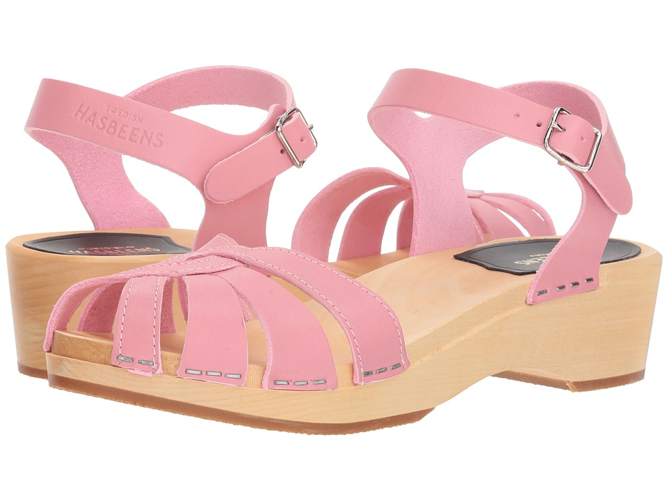 Swedish Hasbeens Cross Strap Debutant (Bubble Gum Pink) Sandals