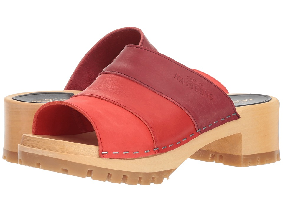 Swedish Hasbeens Mona (Red Nubuck Color Combo) Sandals
