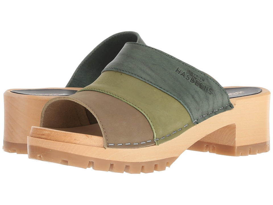 Swedish Hasbeens Mona (Green Nubuck Color Combo) Sandals