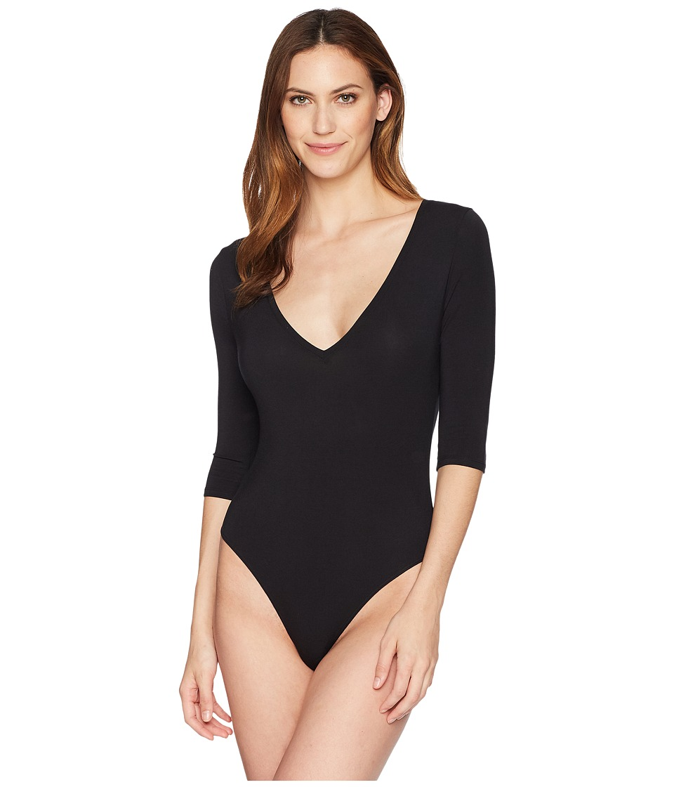 Felina - Modal Bodysuit with V-Neck and 3/4 Sleeve (Black) Womens Jumpsuit & Rompers One Piece