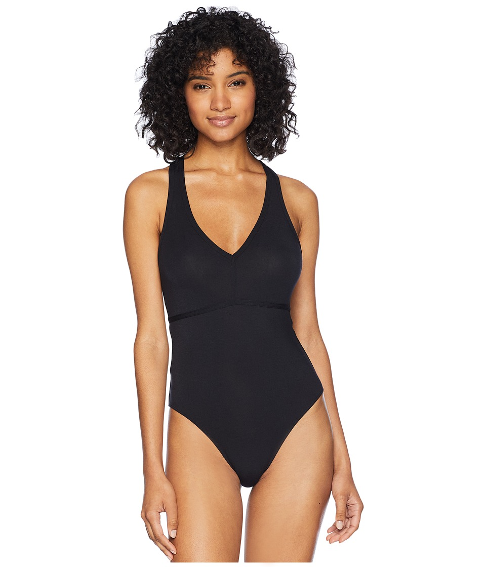 Felina - Modal Bodysuit with T-Back Strap (Black) Womens Jumpsuit & Rompers One Piece