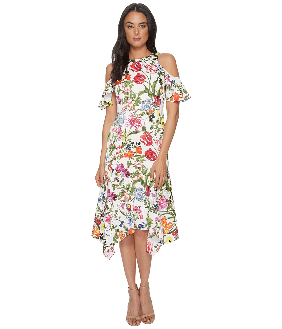 Maggy London - Botanical Bloom Cold Shoulder Fit Flare (Soft White/Multi) Womens Dress