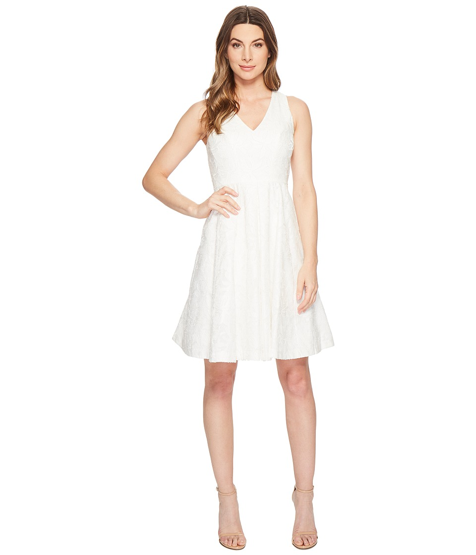 Maggy London - Leafy Flower Burnout Fit Flare Dress (White) Womens Dress